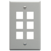 ICC IC107F06GY 6-Port 1-Gang Flat Faceplate, Gray