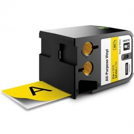 "DYMO 1868775 2"" All-Purpose Vinyl Black on Yellow Labels"