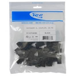 ICC IC107C6CBK CAT 6 Coupler Module 25-Pack Black