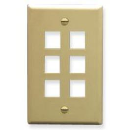 ICC IC107LF6IV 6-Port Single Gang Oversized Faceplate Ivory