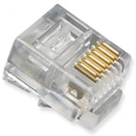 ICC ICMP6P6SRD Oval Entry 6P6C RJ-11 Plug with Solid Wires 100PK