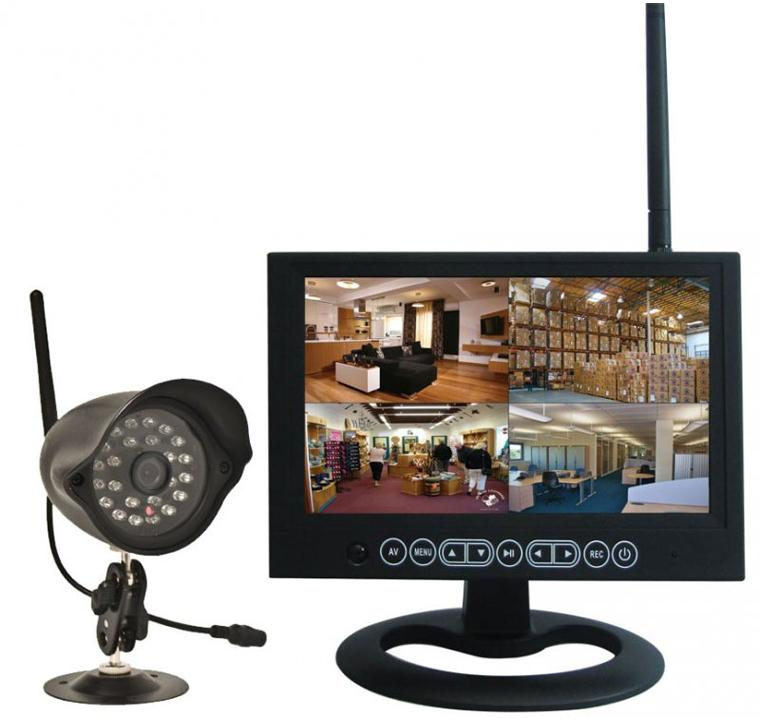 kjb security c1197 wireless camera with quad view lcd dvr receiver security supply. Black Bedroom Furniture Sets. Home Design Ideas