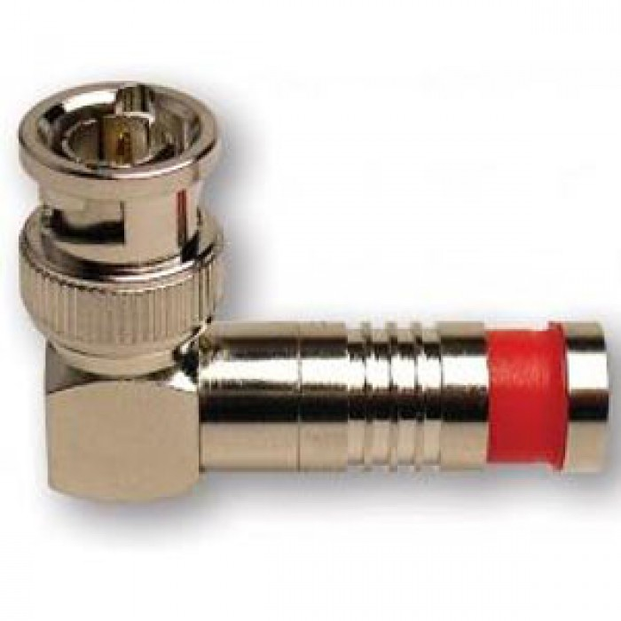 Platinum Tools 18040 BNC-Type RG6 Rt. Angle Nickel SealSmart Coaxial Compression Connector. 3pc. Clamshell