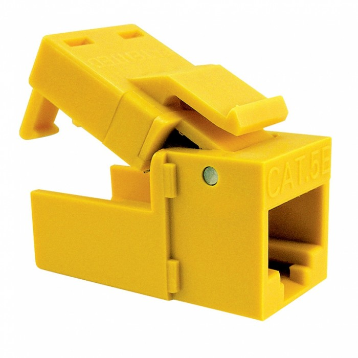 Platinum Tools 705YL-4C EZ-SnapJack Cat5e Yellow, ClamPack 4 EA