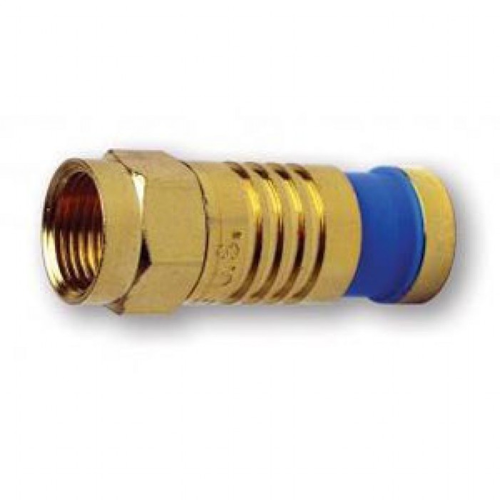 Platinum Tools 18005 F-Type RG6 Quad Gold SealSmart Coaxial Compression Connector. 10 pc. Clamshell