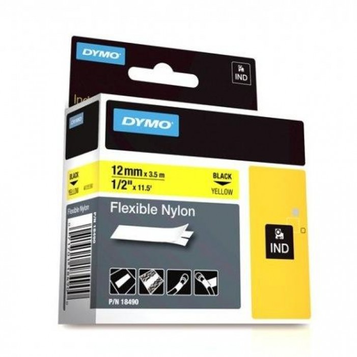 "Dymo 18490 RHINO 1/2"" (12mm) Yellow Flexible Nylon Labels"