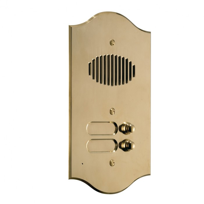 Comelit 3002-RI ROMA series brass audio entrance panel with 2 push-buttons. Preset for Powercom audio module