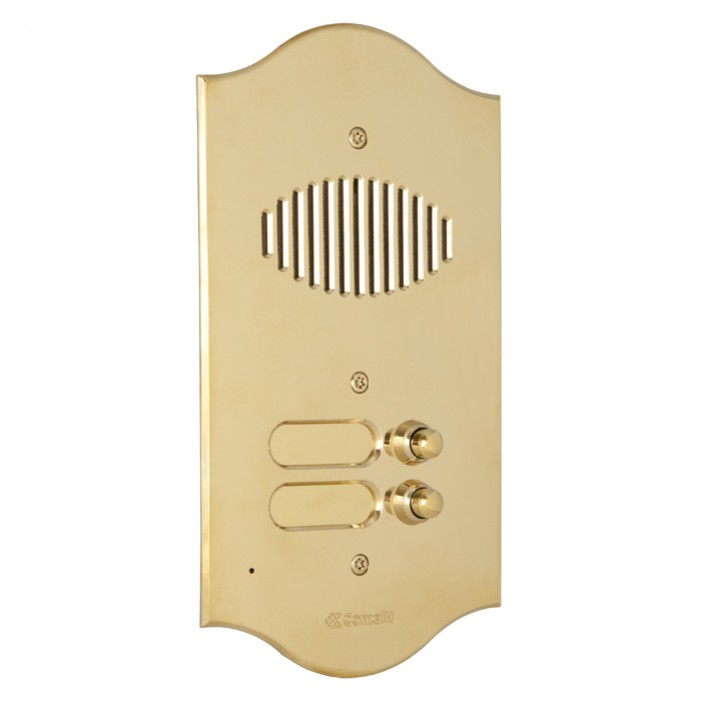 Comelit 3006-RI ROMA series brass audio entrance panel with 6 push-buttons. Preset for Powercom audio module