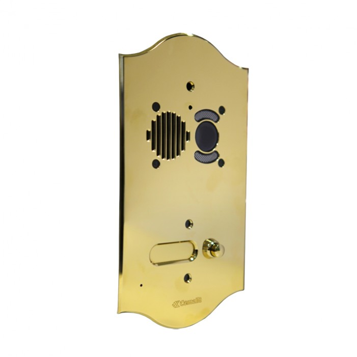 Comelit 3201-RI ROMA series brass video entrance panel with 1 push-button. Preset for Powercom audio/video module