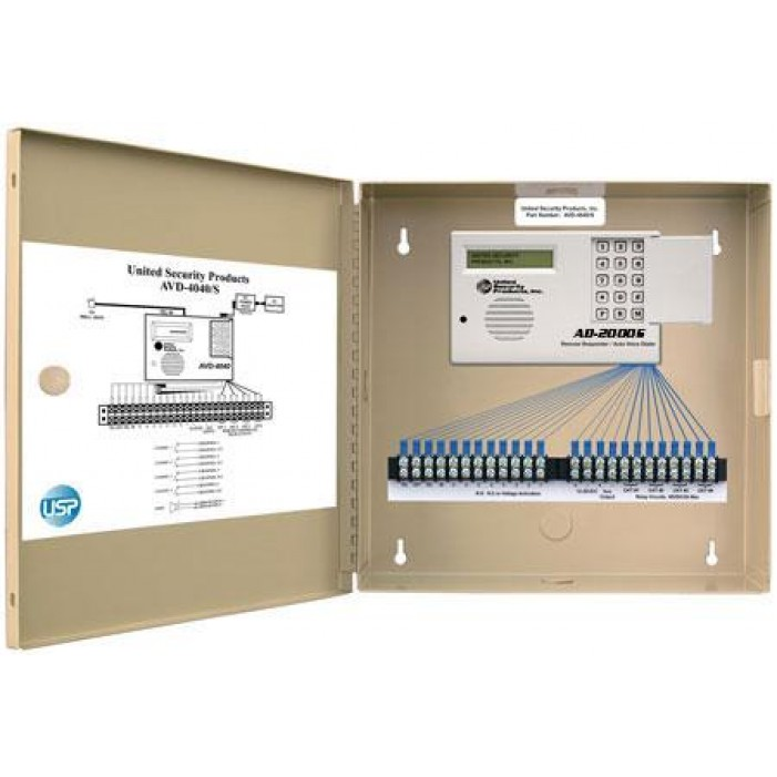 United Security Products AD2000-S Auto Voice Dialer with 4 VMZ's, Calls 8 Numbers, 24VDC - in Metal Cabinet