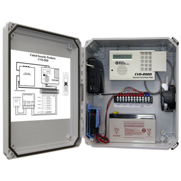 United Security Products CVD-2020 Cellular Dialer Back up in NEMA cabinet w/ AD2000 Dialer