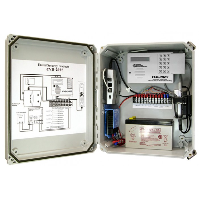 United Security Products CVD-2025P Cellular Dialer Back up in NEMA cabinet w/ AVD-2010 Dialer, incl. Motorola Cell phone