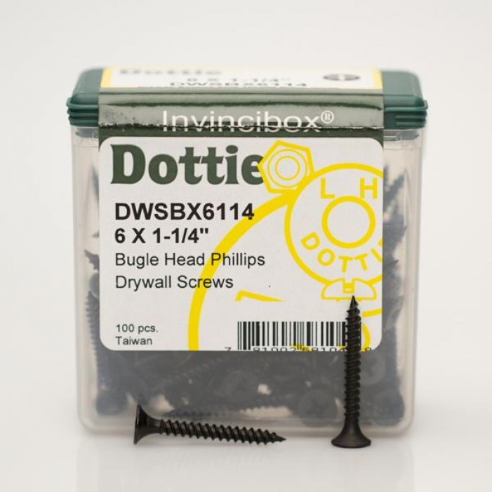 "LH Dottie DWSBX6114 6 X 1-1/4"" Bugle Head Phillips Drywall Screws 100 Pack"