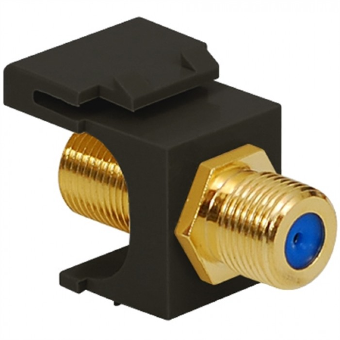 ICC IC107B9GBK Gold Plated F/F F-Type Coupler, 3 GHz, Black
