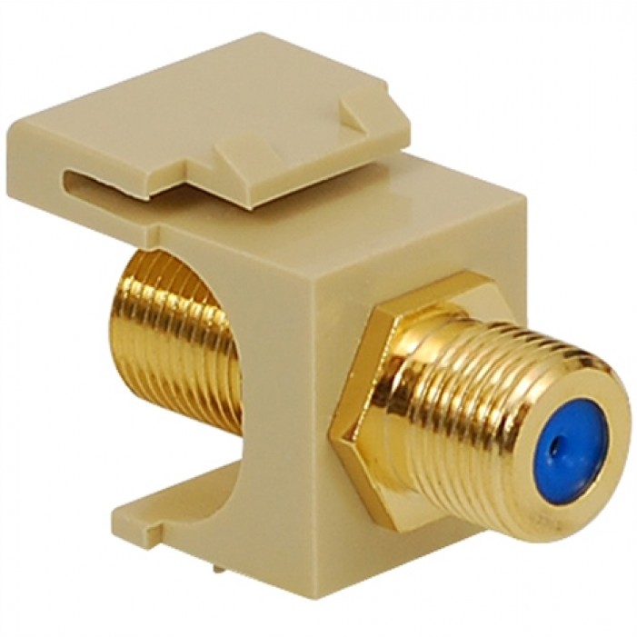 ICC IC107B9GIV Gold Plated F/F F-Type Coupler, 3 GHz, Ivory