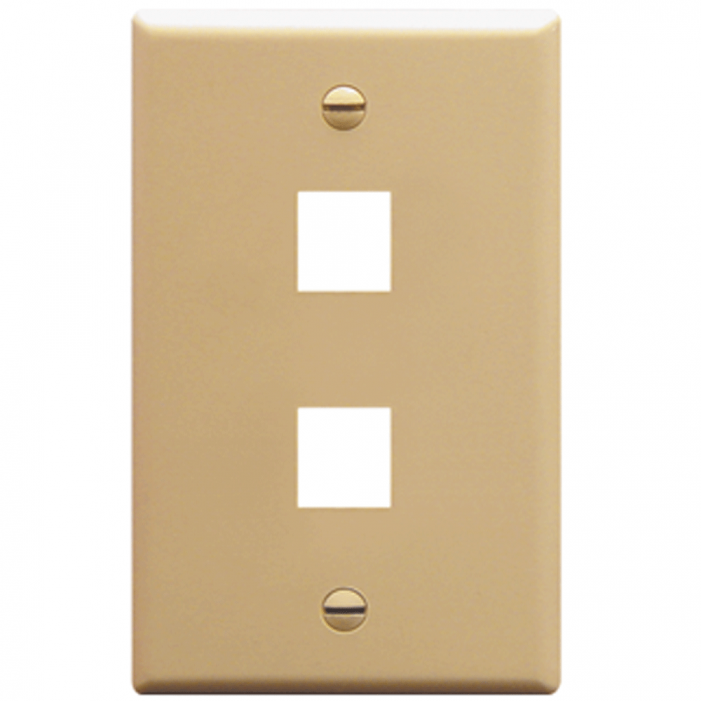 ICC IC107F02IV 2-Port 1-Gang Flat Faceplate, Ivory