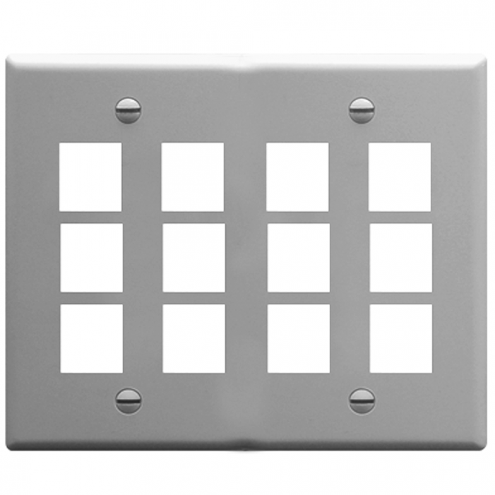 ICC IC107F12GY 12-Port 2-Gang Flat Faceplate, Gray