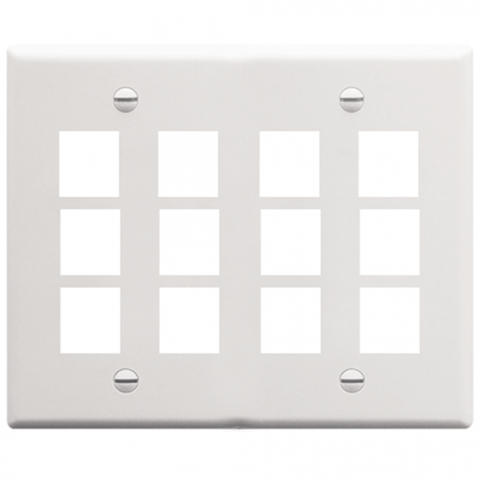 ICC IC107F12WH 12-Port 2-Gang Flat Faceplate, White