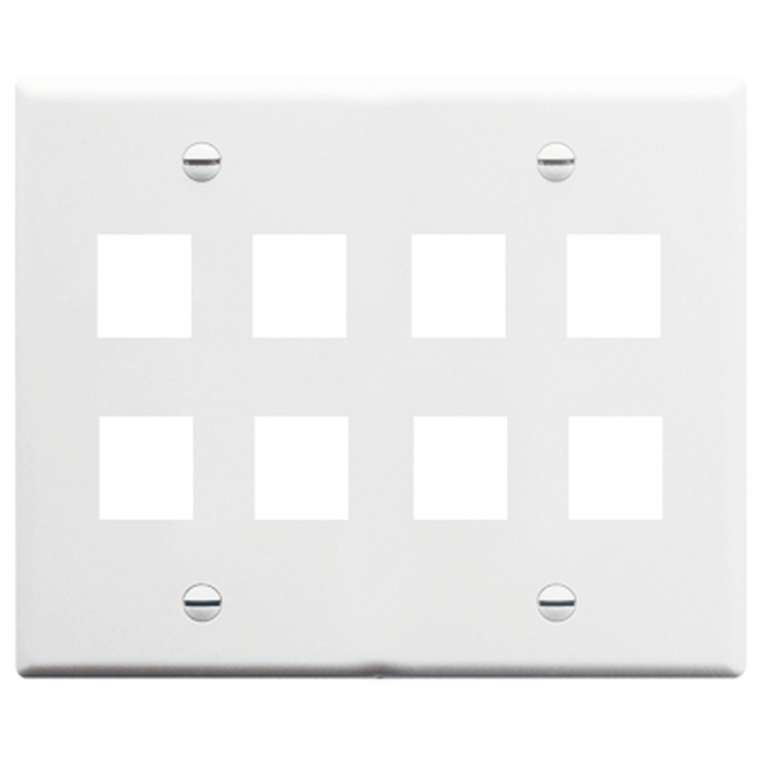 ICC IC107FD8WH 8-Port 2-Gang Flat Faceplate, White