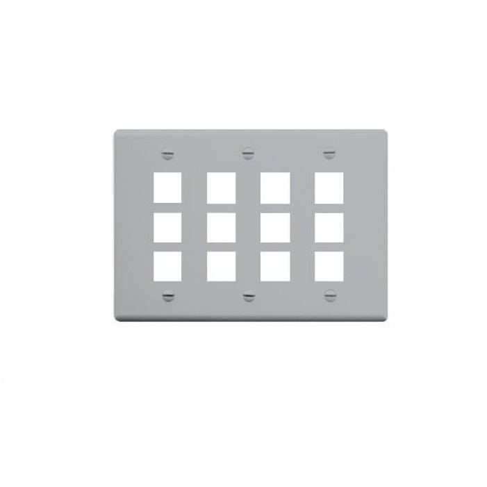 ICC IC107FT0GY 12-Port 3-Gang Flat Faceplate, Gray