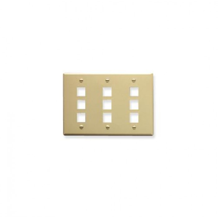 ICC IC107FT9IV 9-Port 3-Gang Flat Faceplate, Ivory