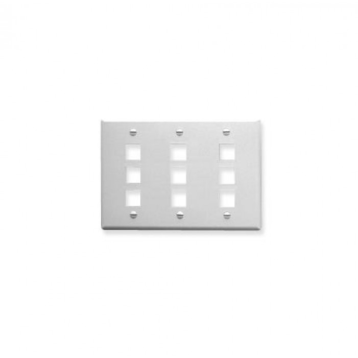 ICC IC107FT9WH 9-Port 3-Gang Flat Faceplate, White