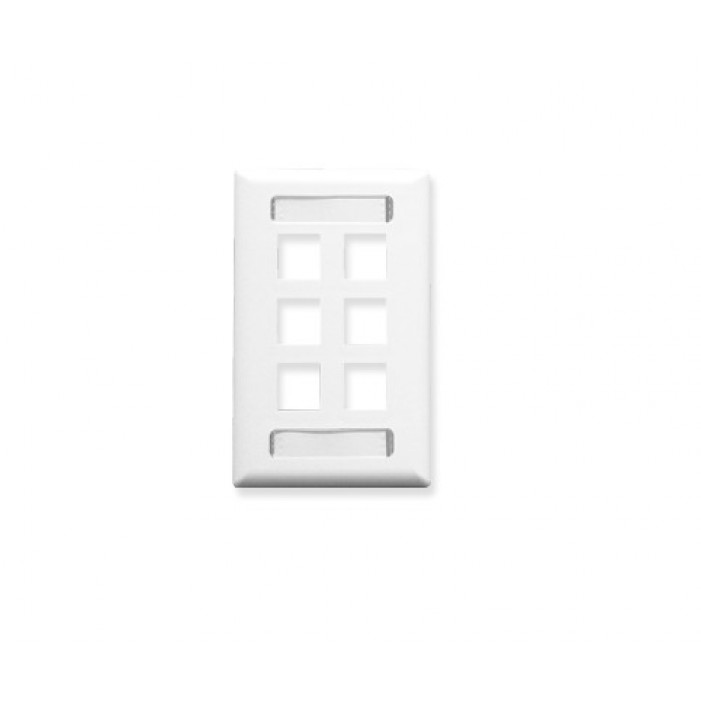 ICC IC107S06WH 6-Port 1-Gang Station ID Faceplate - White