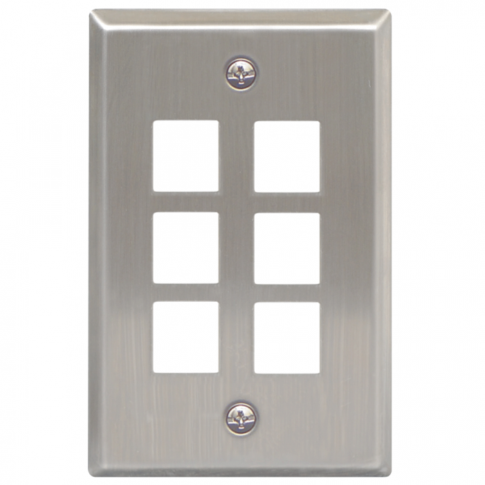 ICC IC107SF6SS 6-Port 1-Gang Stainless Steel Flat Faceplate