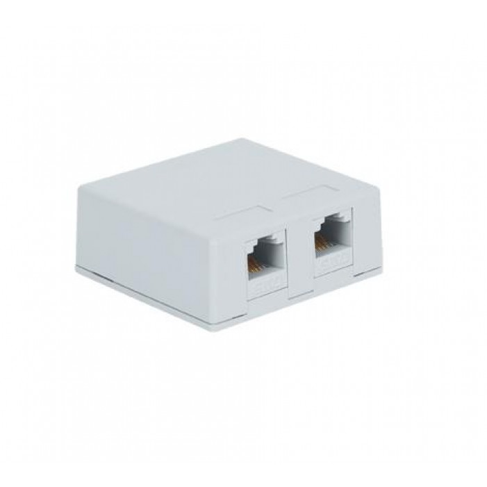 ICC IC625S52WH 2-Port 8P8C CAT 5e Surface Mount Jack - White
