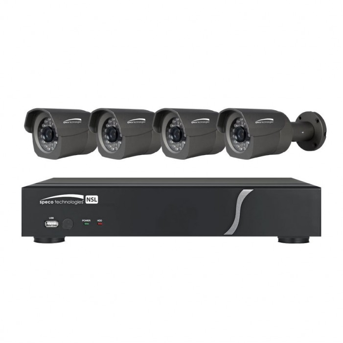 Speco ZIPL4B1 4 Channel NVR with 4 Channel Built-In PoE, 1TB, 4 Full HD 1080p Outdoor IR Bullet Cameras