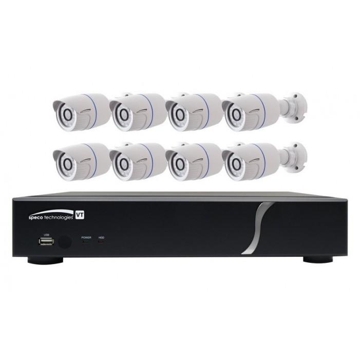 Speco ZIPT88B2 HD-TVI 8 Channel DVR, 2TB with 8 X 1080p Outdoor IR Bullet Cameras, White