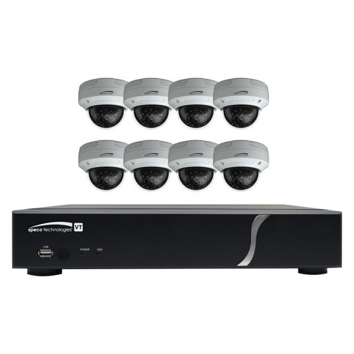 Speco ZIPT88D2 HD-TVI 8 Channel DVR, 2TB with 8 X 1080p Outdoor IR Dome Cameras, White