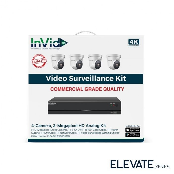 InVid ELEV-8CHTX2MPKITAN-8TB 2 Megapixel 4 Turret Cameras with 8 Channel Digital Video Recorder, 8TB