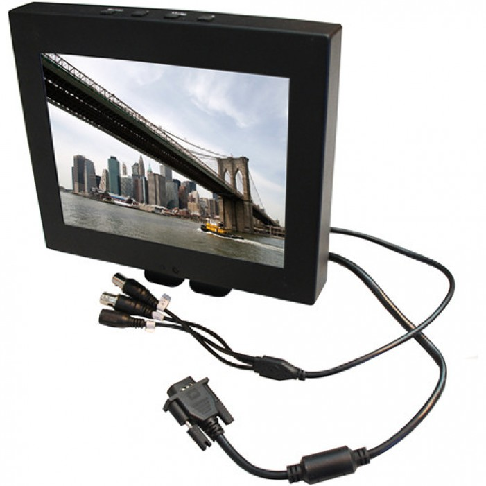 Everfocus EN7508M 8-inch Mini Mobile LCD Monitor with Pigtail, 800 x 600