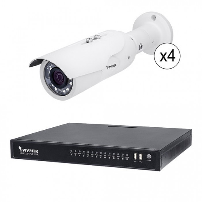 Vivotek ND8322P-2TB-4IB3AV 8 Channel 1080p NVR with 2TB HDD and 4 1080p Outdoor Network Bullet Cameras