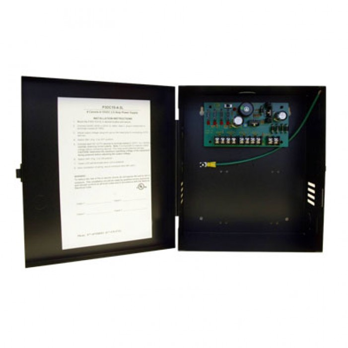 Samsung Security PWR-15DC-4-2UL Small Enclosed 4-Output, 2.5 Amp 6-15VDC Power Supply, UL Listed