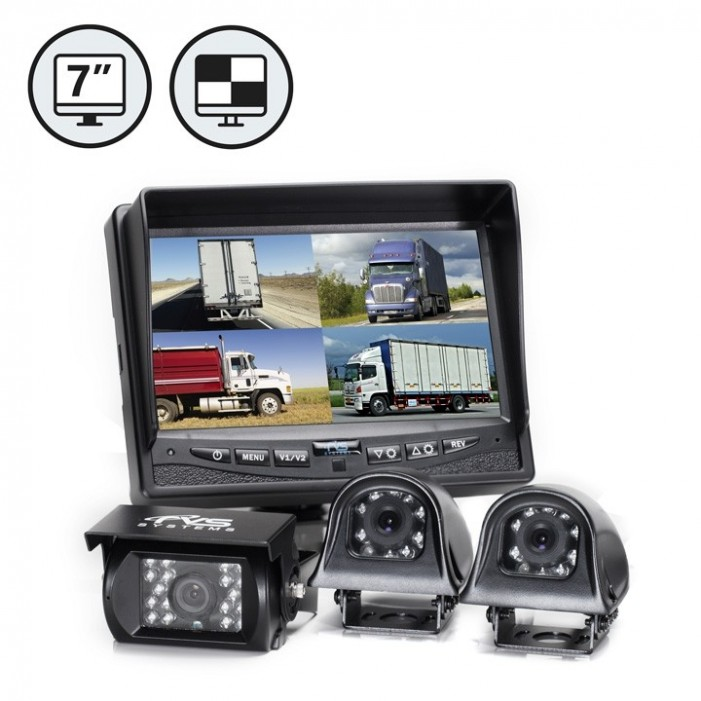"""RVS Systems RVS-062710-04 7"""" 600 TVL Quad View Display, Both Side Backup Camera, 33' Cable"""