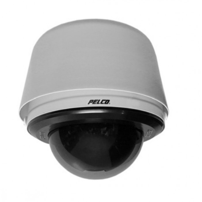 Pelco SD4E23-PG-E1-X 540 TVL Day/Night Pendant Environmental Clear Network IP PTZ Camera, PAL, 23X, Light Gray