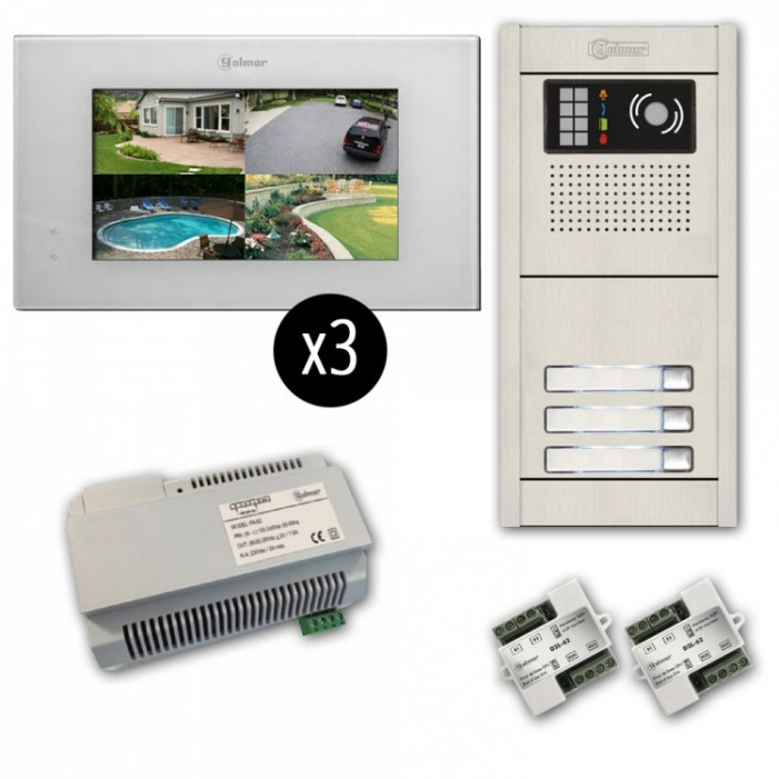 Alpha VKGB2-P7-3AF 3 Unit Touchscreen Video Entry Intercom Kit