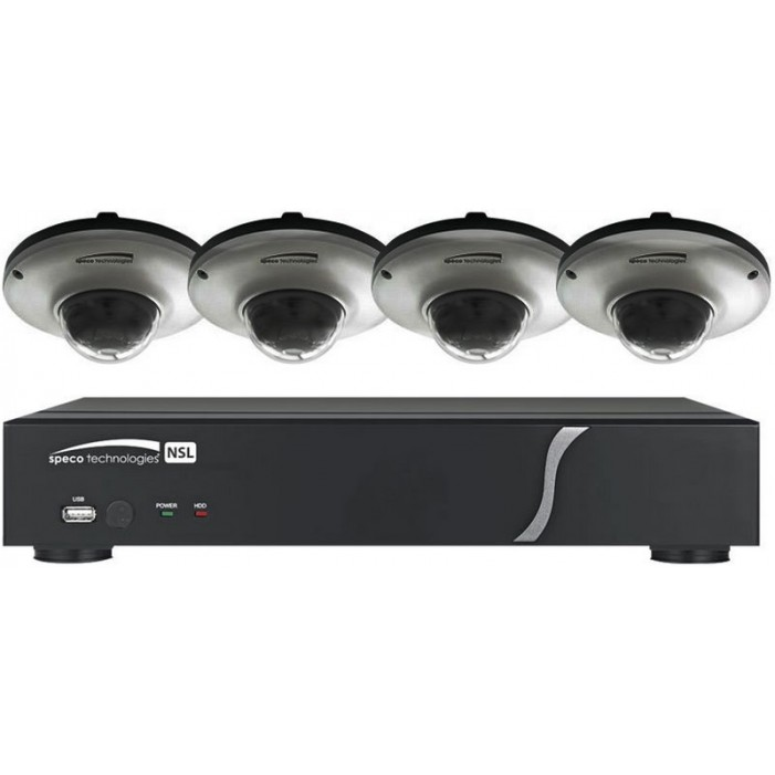 Speco ZIPL84D2G 8 Channel NVR with 2TB and 4 Full HD 1080p Outdoor IR Dome Cameras
