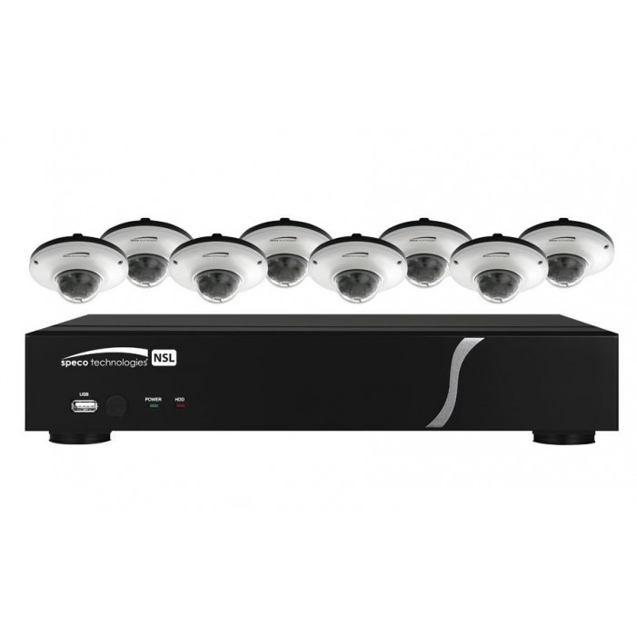 Speco ZIPL88D2G 8 Channel Plug & Play, 2 TB NVR and 8 Full HD 1080p Outdoor IR Dome Cameras