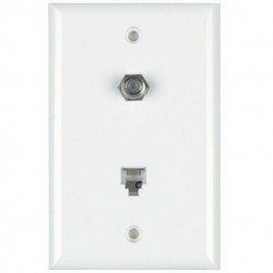 DataComm 40-1722 Color-Rite Combination Phone/Coax Plate, Mid-Size, White