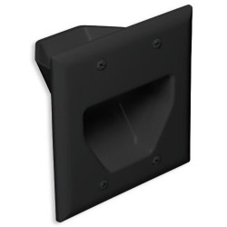 DataComm 45-0002-BK 2 Gang Recessed Low Voltage Cable Plate, Black