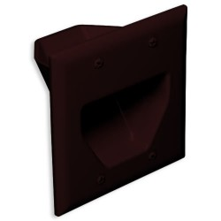 DataComm 45-0002-BR 2 Gang Recessed Low Voltage Cable Plate, Brown