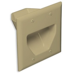 DataComm 45-0002-IV 2 Gang Recessed Low Voltage Cable Plate, Ivory
