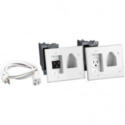 DataComm 45-0023-WH Recessed Pro-Power Kit w/Straight Blade Inlet