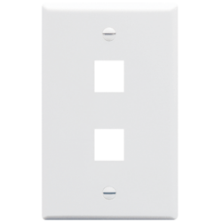 ICC IC107F02WH 2-Port 1-Gang Flat Faceplate, White