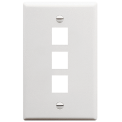 ICC IC107F03WH 3-Port 1-Gang Flat Faceplate, White