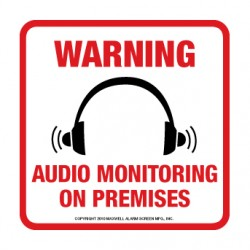 Maxwell DTV-208 Audio Monitoring Decal - 4 x 4 – Red & Black (100 pk)