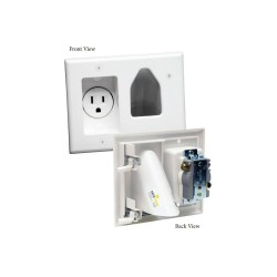 Datacomm 45-0021-WH Recessed Low Voltage Cable Plate w/ Recessed Power